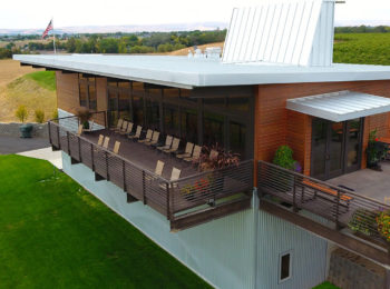 Patio seats at Amavi Cellars offers a scenic setting for Walla Walla wine tasting