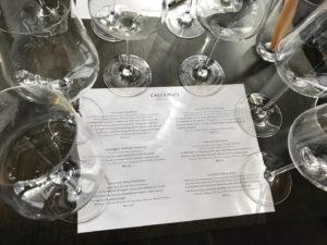 Wine glasses set up for a flight tasting at CheckMate