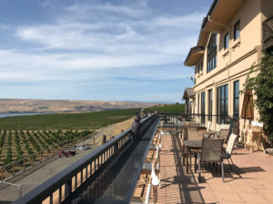 Maryhill's patio offers wine tasting overlooking the Columbia River Gorge