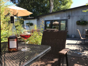 WyEast's patio offers serene wine tasting along the Columbia River Gorge