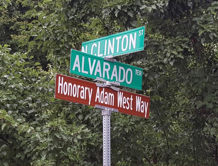 Adam West Day organizers named a Walla Walla street after the Batman stare