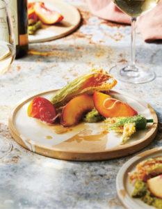 Heriloom tomato and nectarine salad reflects the flavors of Washington wine and food